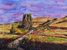 Leaving Hornillos del Camino, watercolour by  Zaira Dzhaubaeva, Russia Available