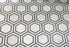 Hex Appeal Mosaic, Basalt and Oriental White Marble, 1 Piece mediterranean-floor-tiles