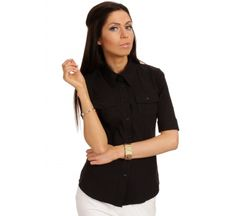 31b95b44429a Slim fit seam collared black shirt with flap chest ad Euro in shirts shirts  short sleeve
