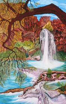 Oil Painting For Beginners Forest Art, Tree Forest, Havasupai Falls, Oil Painting For Beginners, Painting Still Life, Fashion Painting, Autumn Art, Oil Painting Abstract, Nature Animals