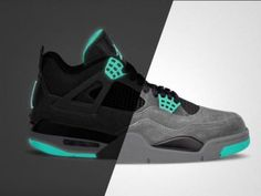 NIKE AIR JORDAN IV DARK GREY/GREEN GLOW-CEMENT GREY-BLACK #sneaker