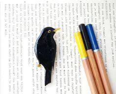 Hand drawn Blackbird brooch bird brooch bird by kirstinstride