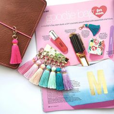 The folks over at @hgtv magazine have a Tiny Tassel keychain in every color..... do you?  Super cute petite size and handmade by yours truly.  Add them to your traveler's notebook cosmetic zip bags or even car keys!  Shop link and coupon code is in my bio.  Be sure to grab yourself the current  May 2016 issue of HGTV magazine for even more Mother's Day gift ideas.  by hautepinkfluff