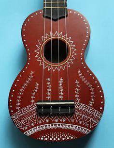 Zentangle-Inspired Hand-Painted Ukulele by UkuLeeShee on Etsy Cool Ukulele, Bass Ukulele, Ukulele Chords, Cool Guitar, Guitar Painting, Guitar Art, Painting Canvas, Painted Ukulele, Ukulele Design