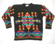 Aztec Colorful Sweater Vintage Retro 1970s 1980s Bel Ami Southwest Indian Navajo Pattern Motif Black Acrylic Knit Ski Jumper Sz Medium/Large