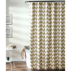 Saturday Knight Ltd Chevron Shower Curtain Brown