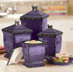 86001 Tuscany Purple Ruffle Ceramic 4 Piece Canister Set by ACK 10 14 15 8 Shades Of Purple, Deep Purple, Purple And Black, Teal, Purple Home, Ponche Navideno, My Favorite Color, My Favorite Things, Color Violeta