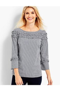 details This is how you mix stripes! Perfectly-placed stripe bias trim on the ruffles, taping and back button loop adds Kurta Designs, Blouse Designs, Kurta Neck Design, Sleeves Designs For Dresses, Classic Style Women, Modern Classic, Striped Fabrics, Short Tops, Ruffle Top