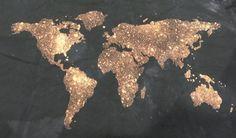 World Map Wall Tapestry Bleached Black Atlas by BumsteerStudios