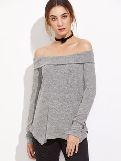 Shop Grey Off The Shoulder Fold Over Asymmetric T-Shirt online. SheIn offers Grey Off The Shoulder Fold Over Asymmetric T-Shirt & more to fit your fashionable needs.