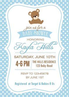 Fun Baby Shower Games, Boy Baby Shower Themes, Baby Shower Cards, Baby Cards, Baby Boy Shower, Invitaciones Baby Shower Niña, Teddy Bear Baby Shower, Printable Baby Shower Invitations, First Birthday Parties