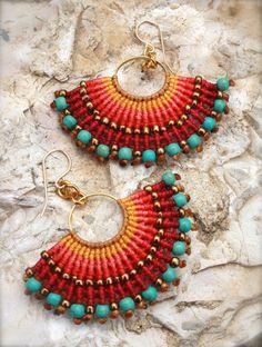 big hoop earrings- tribal earrings- rainbow earrings- macrame earrings