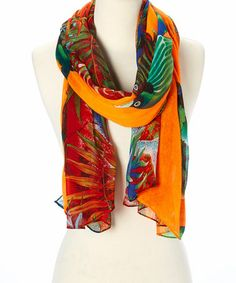 Orange & Green Ocean Coral Scarf #zulily #zulilyfinds