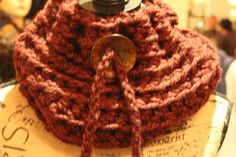 Unisex LeChunky Cowl with Button Draw String for when it is really cold outside.