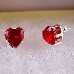 January Birthstone: 4.0 carats Heart Cut Red Fire Garnet CZ 8mm Stud Post by 1000jewels, $16.00 (great Valentine's Day gift)