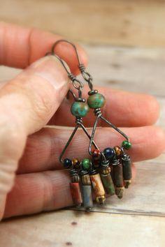 Hippie Fringe ~ Dark Patina Copper Earrings with Beaded Fringe Dangles - Boho Style