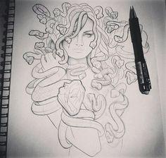 from - Medusa 😍 Tatto Old, Tatoo Art, Body Art Tattoos, Flame Tattoos, Tattoo Sketches, Tattoo Drawings, Drawing Sketches, Art Drawings, Sketch Art