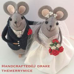Grey cheese topper wedding mice bride in princess style dress.