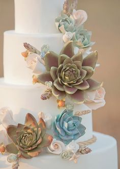 Perfect. Just a little more color. Succulent wedding cake  | photo by Millie Batista | 100 Layer Cake