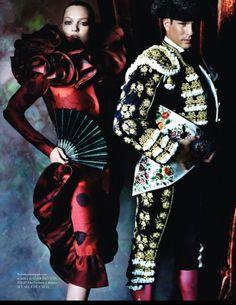¡Va por ustedes!   Kate Moss and José María Manzanares by Mario Testino for Vogue España, December 2012