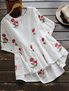 Blusa Baixa Bordada Floral - Branco L