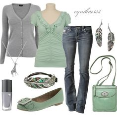 Celadon green and dove gray casual.