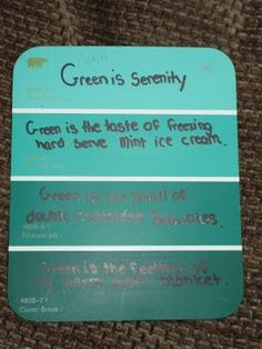 Use simile and metaphor to write color poems on paint chips. | http://mrshallfabulousinfourth.blogspot.com