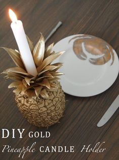 DIY Gold Pineapple Candle Holder.