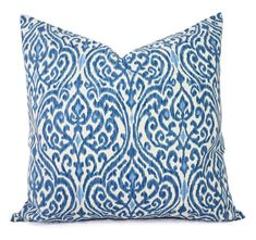 Decorative Pillows - Two Decorative Pillow Covers - Blue and Beige Ikat - 20 x 20 inches Cushion Cover Accent Pillow