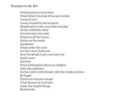 summer to do list – Summer Bucket List - Musik Summer Dream, Summer Fun, Summer Beach, Summer Feeling, Summer Vibes, Summer Aesthetic, Flower Aesthetic, Blue Aesthetic, Aesthetic Fashion