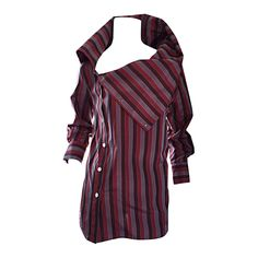 Project Runway Darling Calvin Tran Avant Garde Striped Asymmetrical Silk Blouse | From a collection of rare vintage shirts at https://www.1stdibs.com/fashion/clothing/shirts/