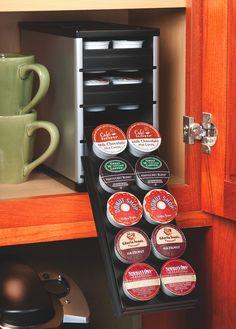 Keurig cupboard storage.