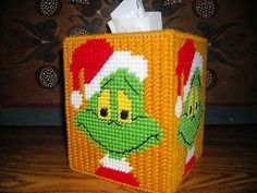 The Grinch tissue box cover Plastic Canvas Coasters, Plastic Canvas Ornaments, Plastic Canvas Tissue Boxes, Plastic Canvas Crafts, Plastic Canvas Patterns, Tissue Box Covers, Tissue Holders, Grinch Stuff, Yarn Storage