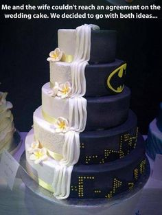 This Wedding Cake Is Proof That Marriage Takes Compromise via Huffington Post