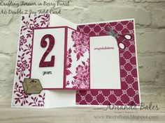 A6 Double Z Joy Fold Card (with Tutorial) featuring Crafting Forever & Fresh Florals papers. By Amanda Bates at The Craft Spa. Independent Stampin' Up! UK Demonstrator, Blogger & Online Shop