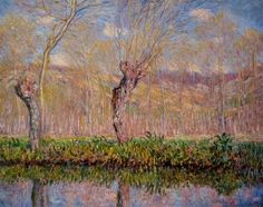 "oil painting on canvas,""the banks of the river epte in springtime"",by Claude Monet"