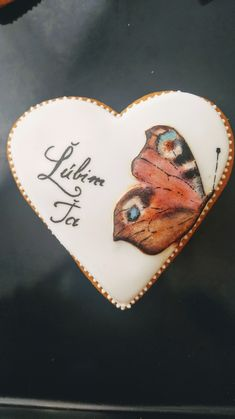 Butterfly, Handpainted cookie, love you gingerbread Gingerbread, Cookie, Music Instruments, Love You, Butterfly, Hand Painted, Accessories, Biscuit, Te Amo