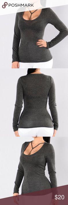 Fashion Nova Gray Shirt Beautiful Fashion Nova shirt. Brand new with tags. Tag says XL, but fits small. More like a medium. Fashion Nova Tops Tees - Long Sleeve