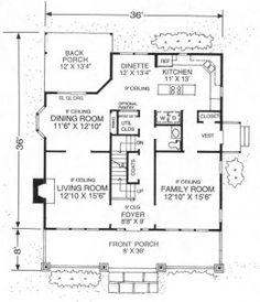 American Foursquare Floor Plan Square Plans House Garage