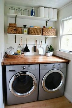 50 Adorable Farmhouse Laundry Room Ideas Storage Shelves Ideas Laundry room decor Small laundry room organization Laundry closet ideas Laundry room storage Stackable washer dryer laundry room Small laundry room makeover A Budget Sink Load Clothes Tiny Laundry Rooms, Laundry Room Shelves, Laundry Room Organization, Laundry Room Design, Laundry In Bathroom, Organization Ideas, Laundry Storage, Bathroom Plumbing, Laundry Table