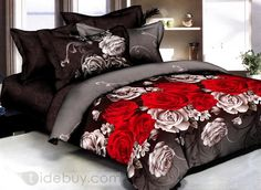 Noble Red and White Rose Printed 4 Piece Comforters and Quilts Sets - beddinginn.com US$63.99