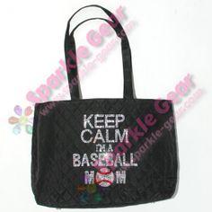 Keep Calm, I'm a Baseball Mom Sparkle Gear Microfiber tote, crystal and Light Siam rhinestones