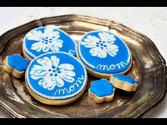 ▶ How To Decorate Cookies with Wet on Wet Royal Icing Technique, Mother's Day Flower Cookies - YouTube