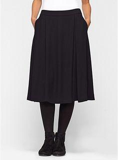 Knee-Length Pleated Skirt in Silk Georgette Crepe