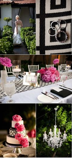 pink black silver wedding. love the table runner