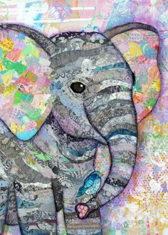 Mixed Media Collage Print - Baby Elephant with Bird A print of an original collage. Two sizes available.  See all my artwork at www.LisaMoralesMixedMedia.com  Thanks for shopping with me
