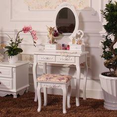 Sıcak Zarif Ev Mobilya Dresser Tablo Ayna Ile Makyaj Dışkı Beyaz Soyunma Tablo Olmadan Kadınlar Için Yatak Odası Modern Tasarım