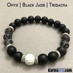 Beaded Yoga Bracelets Black Onyx Jade Tridacna. I Law of Attraction | #LOA | Charm Mala I Meditation & Mantra I Spiritual.