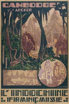 Jos Henri Ponchin Poster for Angkor wat temple. L'Indochine Française