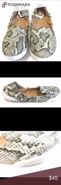 Butterfly Twist Jade Ballet Flat Silver Snake This Ballet Flat is SO comfortable with cushioned sole- and it is so stylish with the Snake skin style upper. Will coordinate with all your summer outfits- so you can enjoy comfort and style. Memory Sole Insole- lightweight- foldable- rubber sole. These are NEW in box- but one shoe has a slight discoloration at the front- from the glue? See pic. Shoes Flats & Loafers